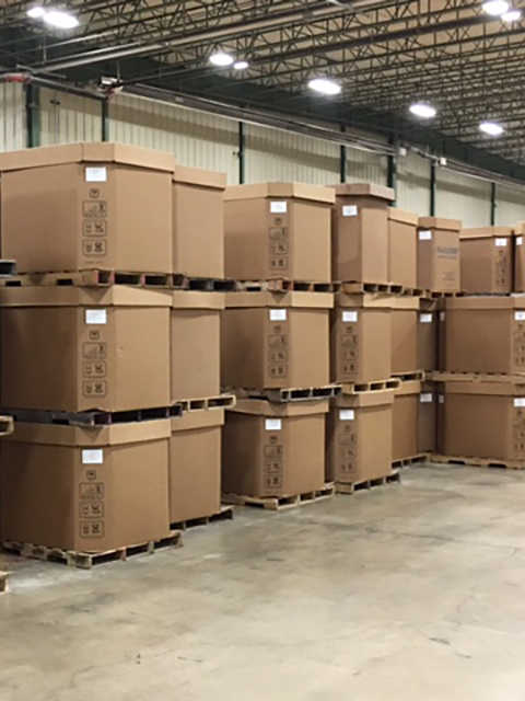 Boxes of Product at Dynamic Polymer Solutions Warehouse